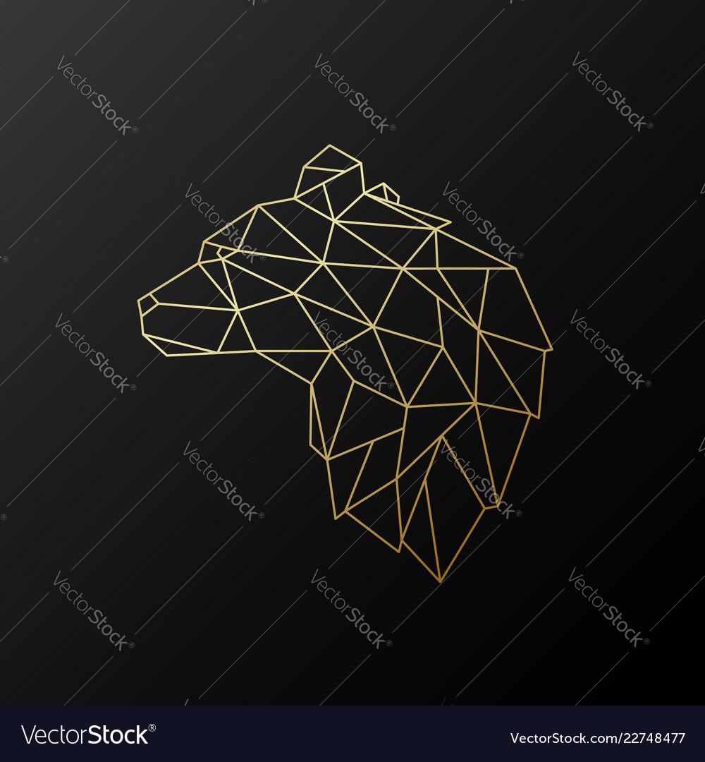 Golden polygonal bear