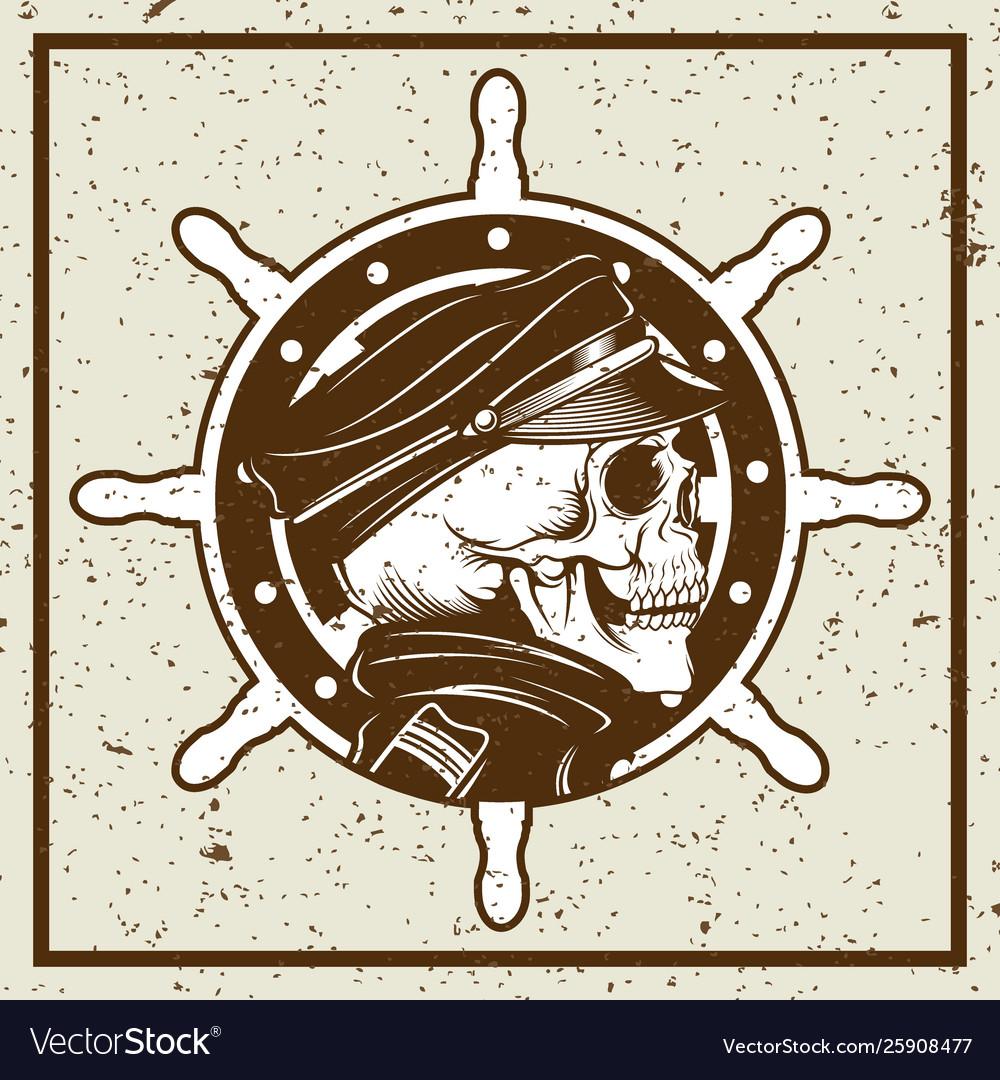 Grunge style skulls captain and ships wheel