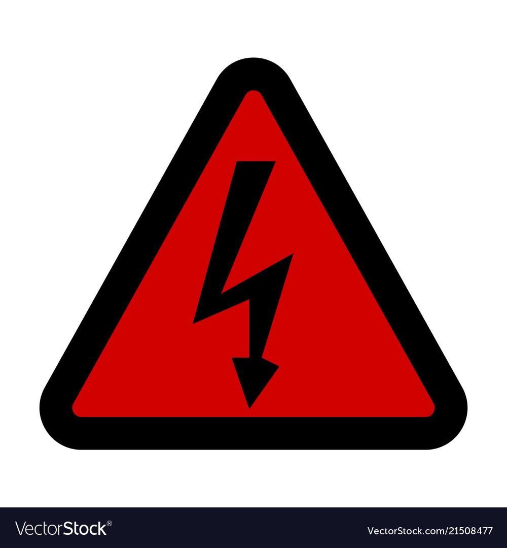 High voltage sign danger symbol black arrow