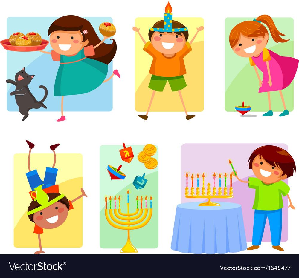 Kids on Hanukkah vector image