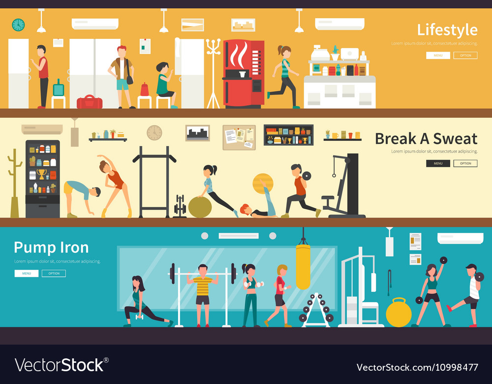 Lifestyle Break A Sweat Pump Iron flat interior vector image