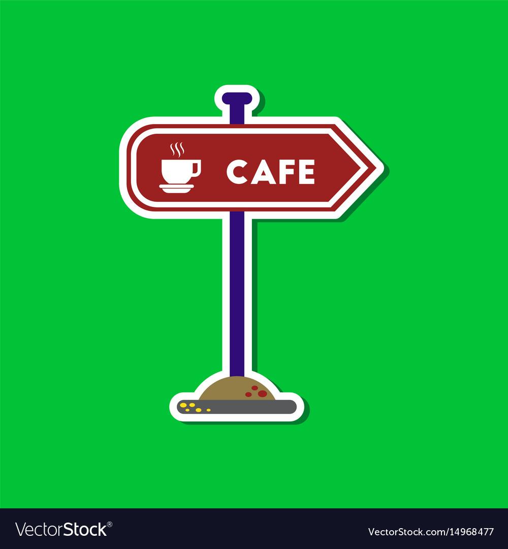 Paper sticker on stylish background cafe sign