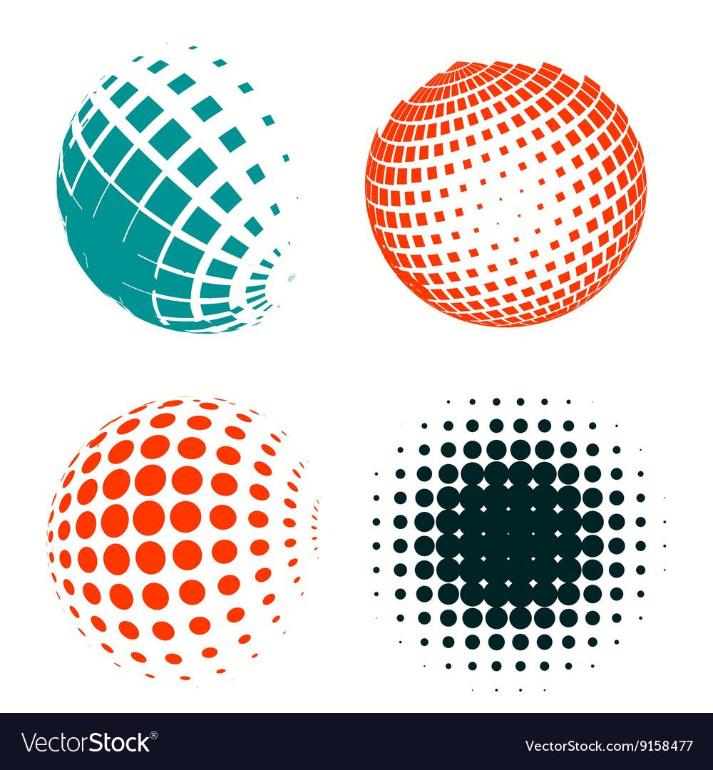 Set of colorful logos halftone Circles Logo