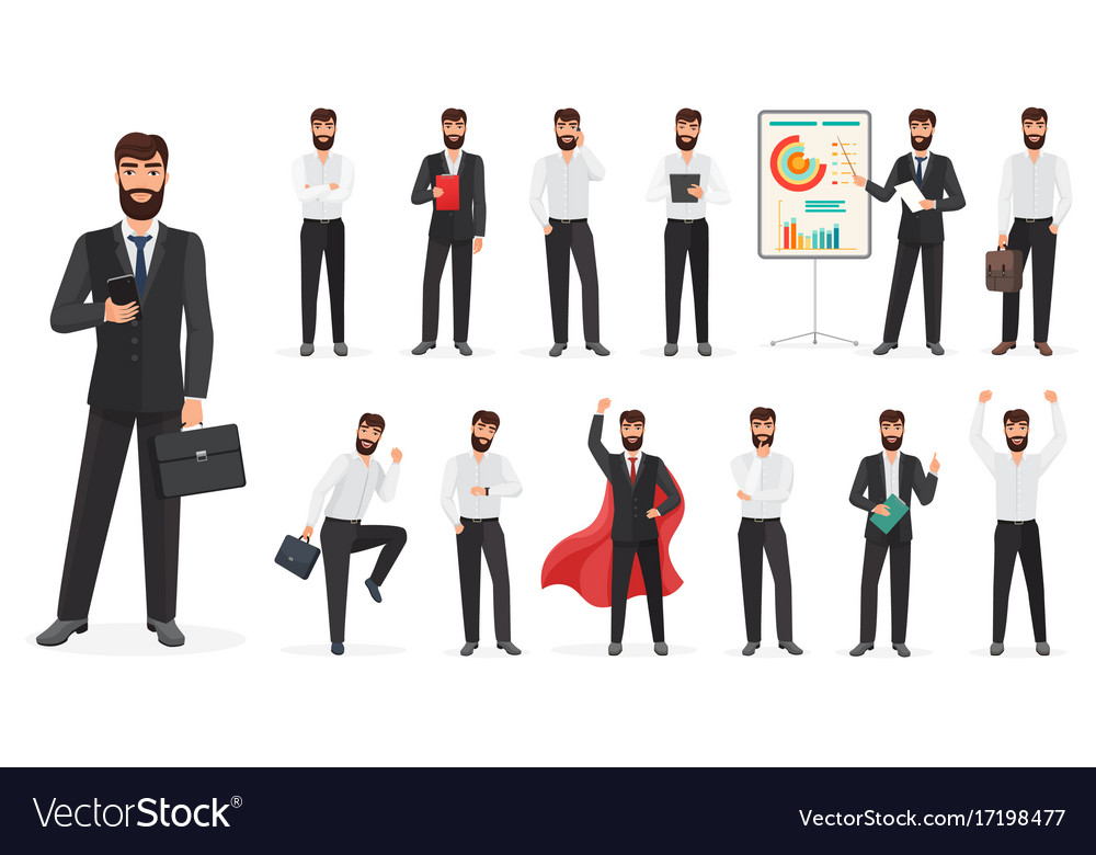 Set of happy businessman character with different