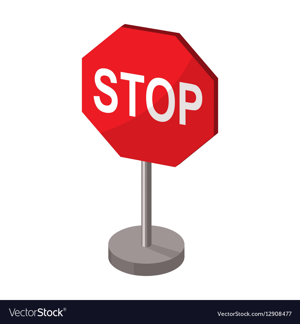 stop road sign icon in cartoon style isolated on vector image rh vectorstock com stop sign cartoon picture bus stop sign cartoon