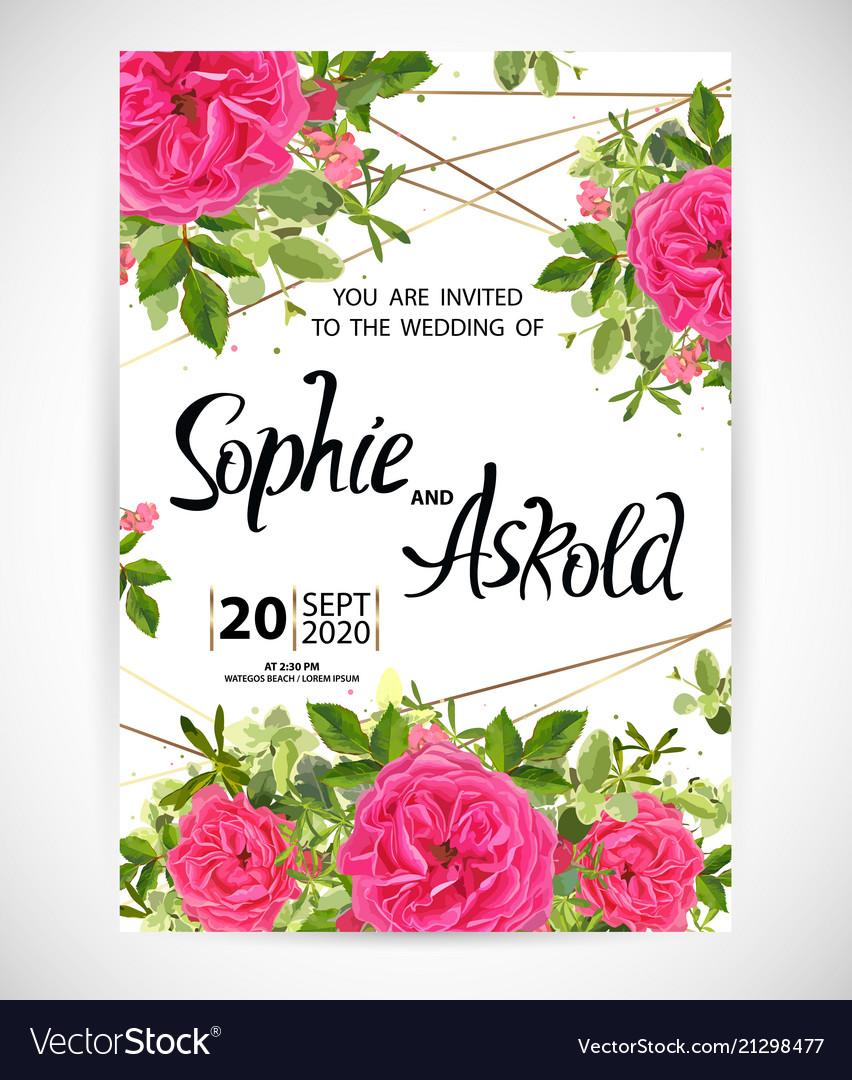 Wedding floral template invite
