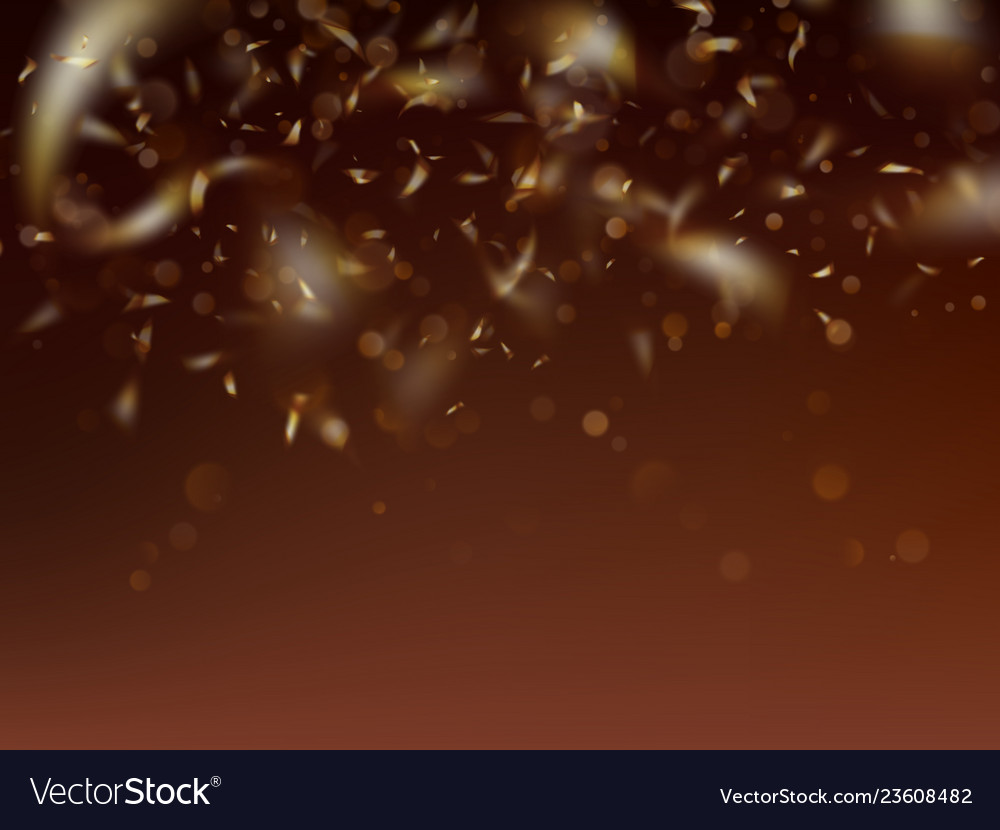 Blurred template with golden confetti and bokeh
