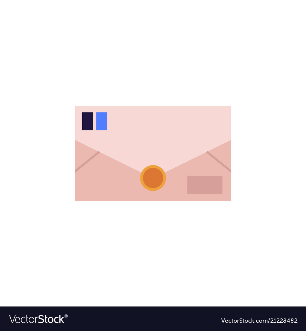Closed postal envelope from brown paper with blue