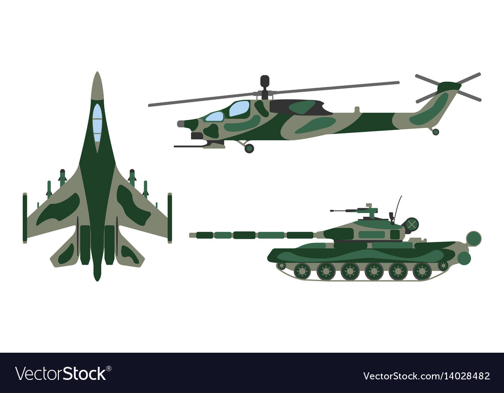 Fighter aircraft tank helicopter military set vector image