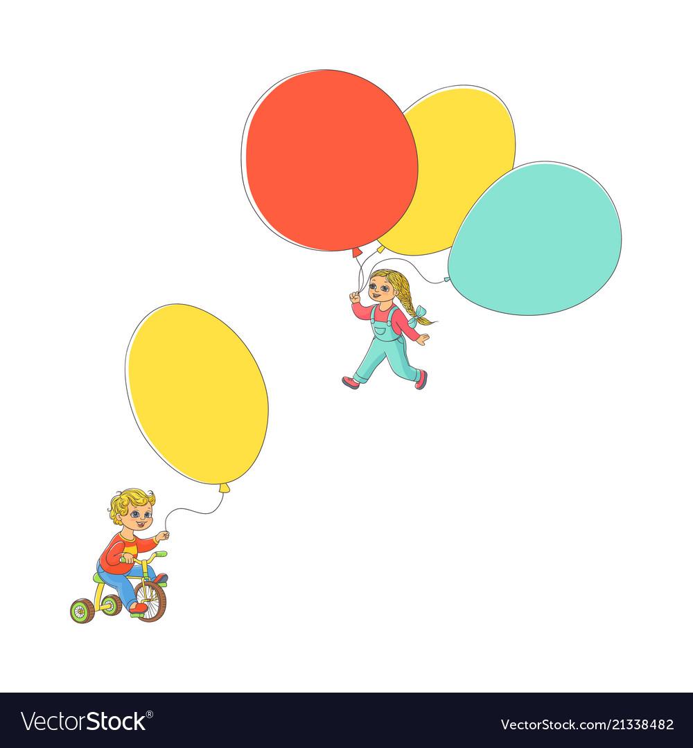 Flat children with air balloons set
