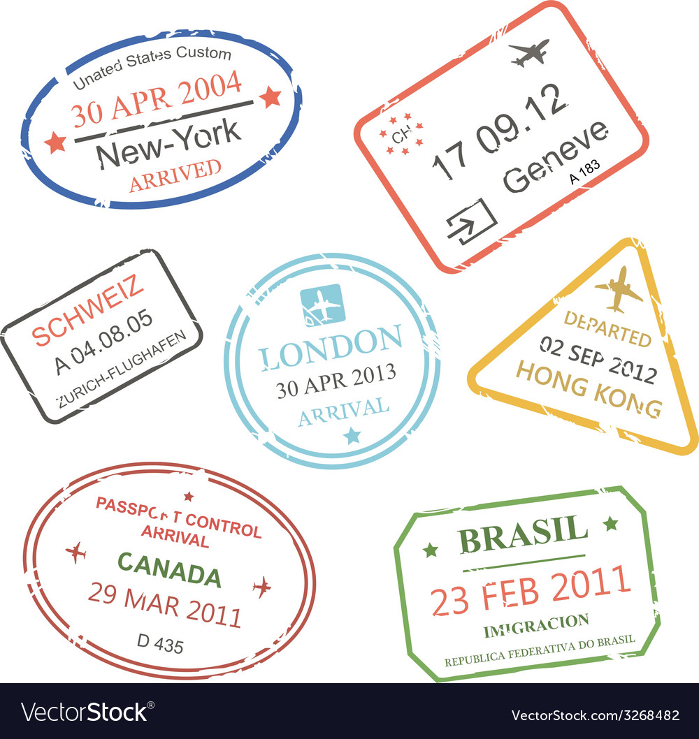 International business travel visa stamps set