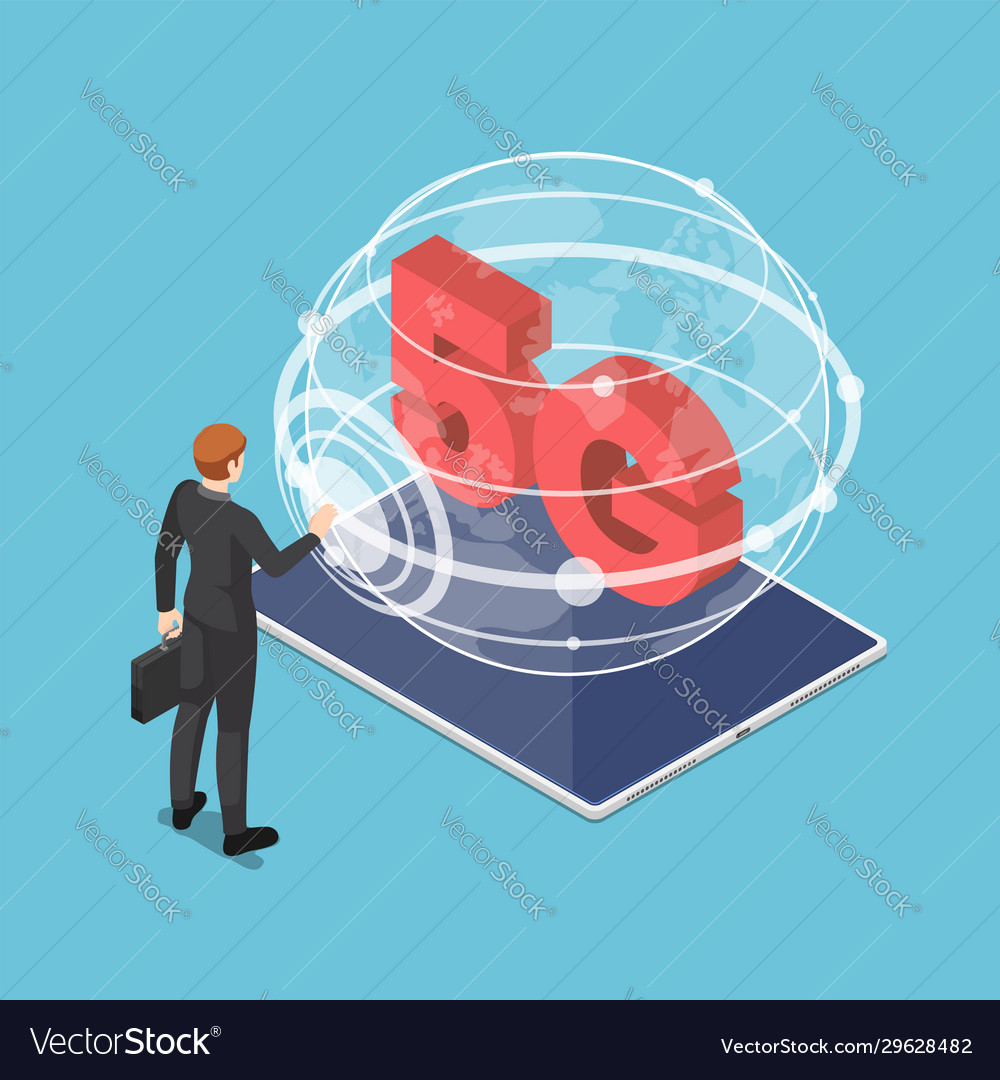 Isometric businessman touching 5g network sign on