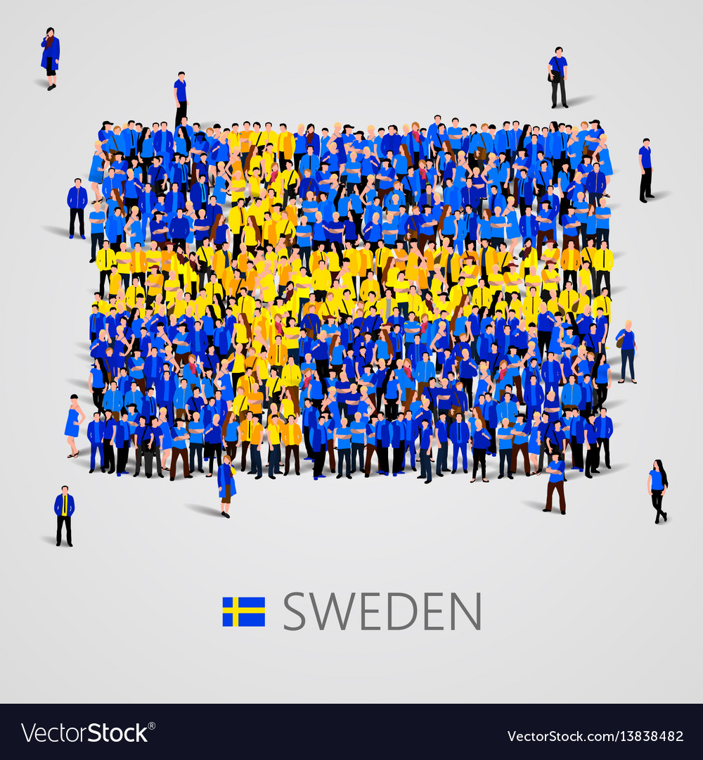 Large group of people in the sweden flag shape