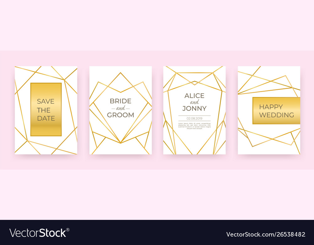 Luxury wedding line posters golden fashion