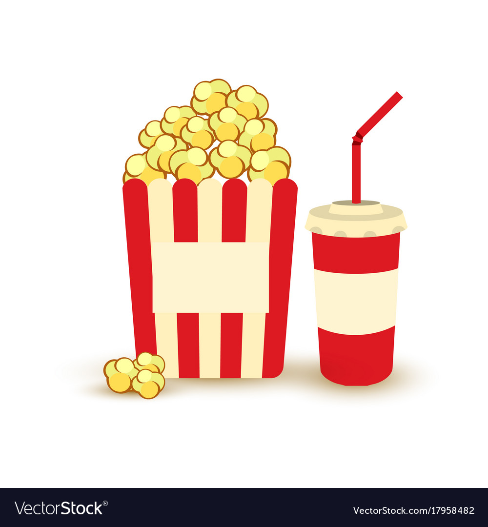 Movie Poster Template Popcorn Soda Takeaway Vector Image