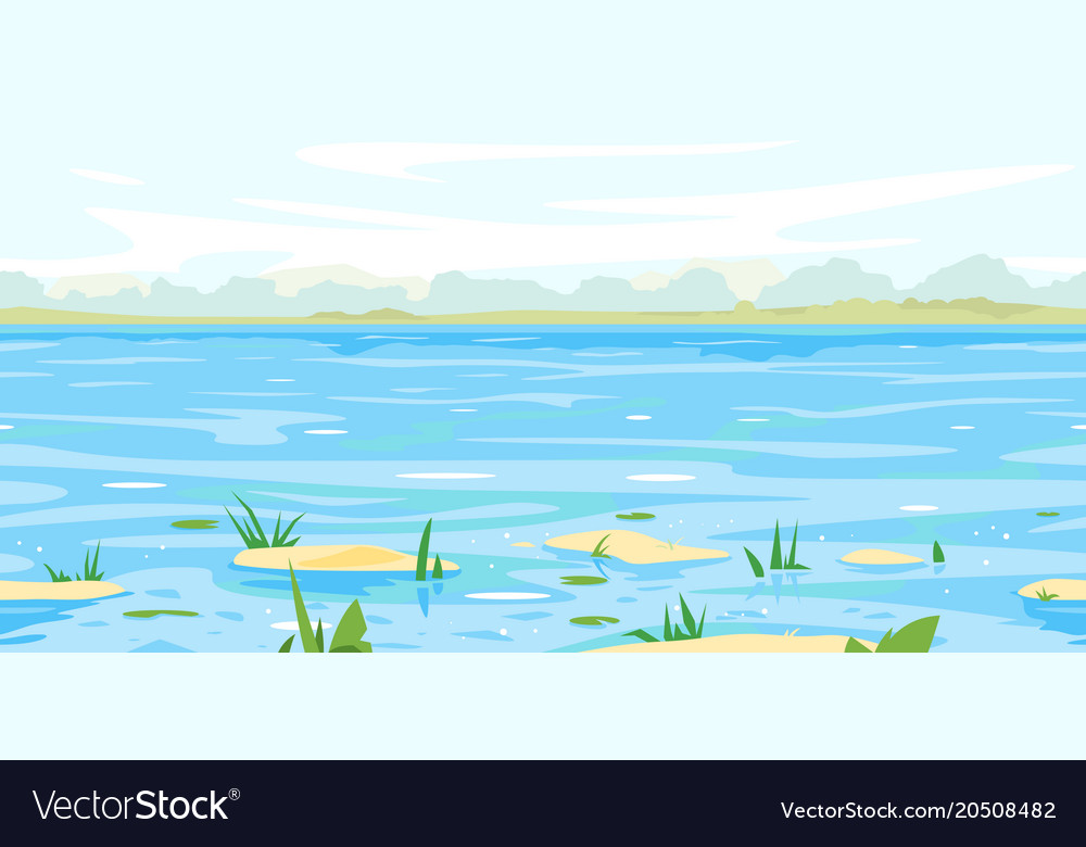 Spring landscape background with flood waters