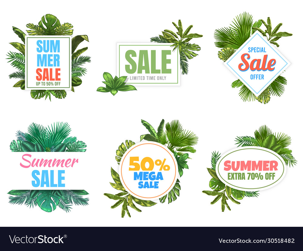 Summer sale badges abstract sale poster