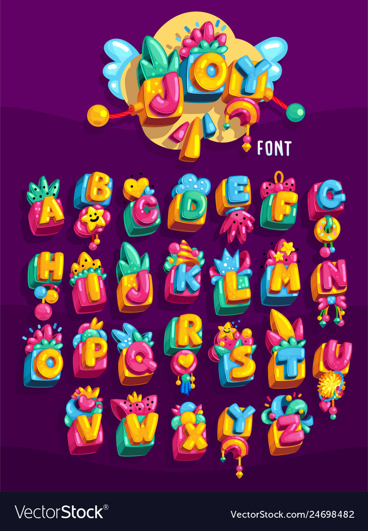 Toys cube colorful font