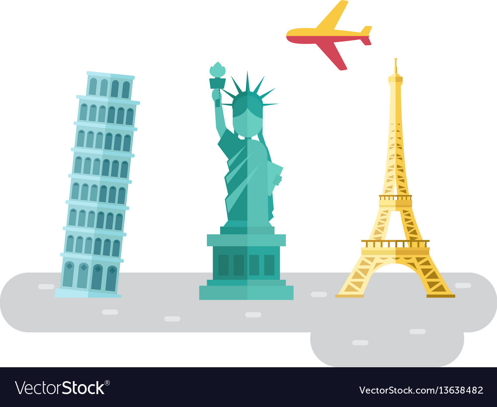 Travel europe famous landmarks and places symbol vector image