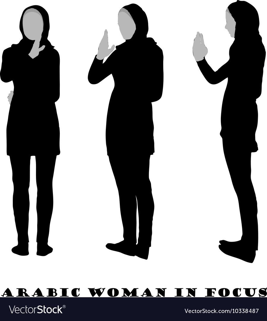 Arabic woman silhouette in focus pose