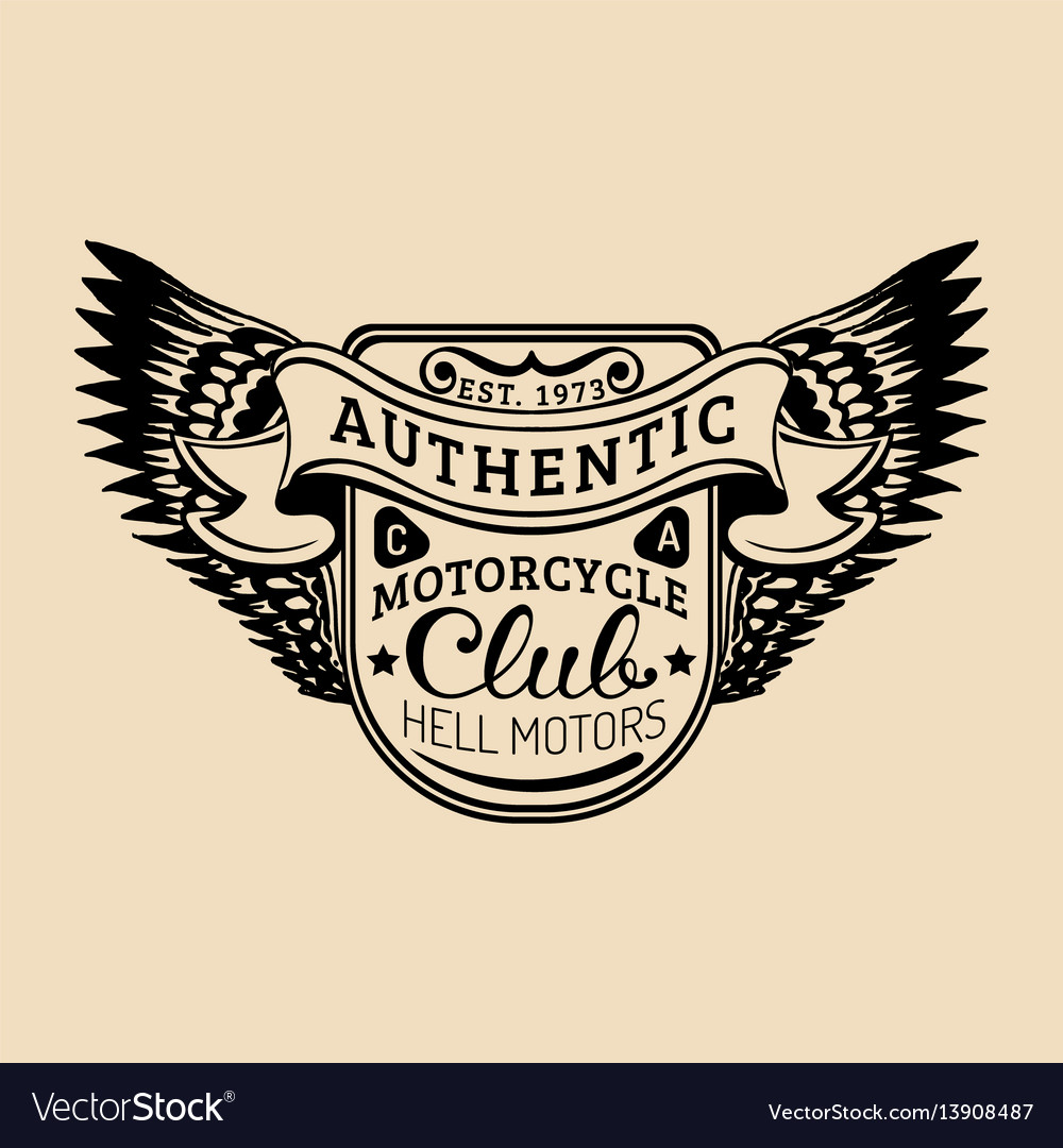 Biker logo with wings mc sign