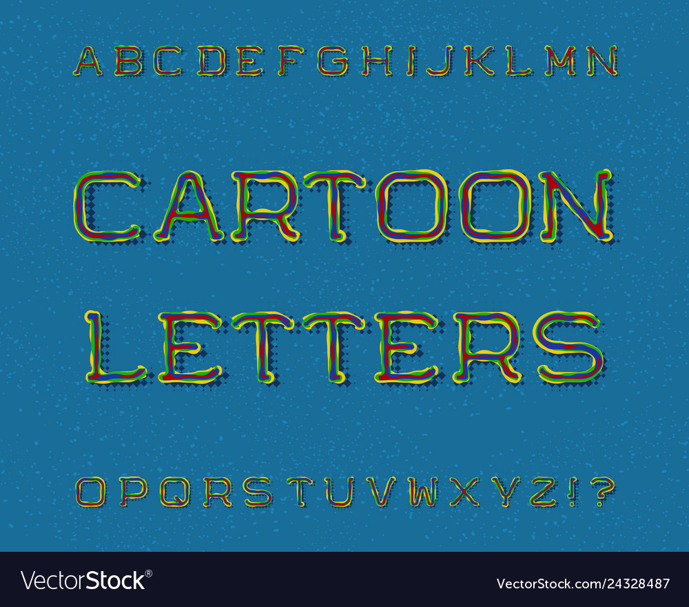 Cartoon letters typeface artistic font isolated