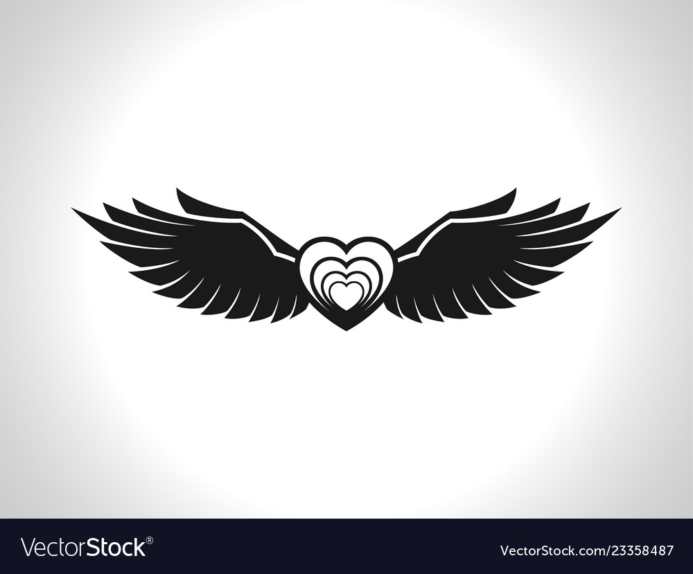 Flying heart image icon and symbol