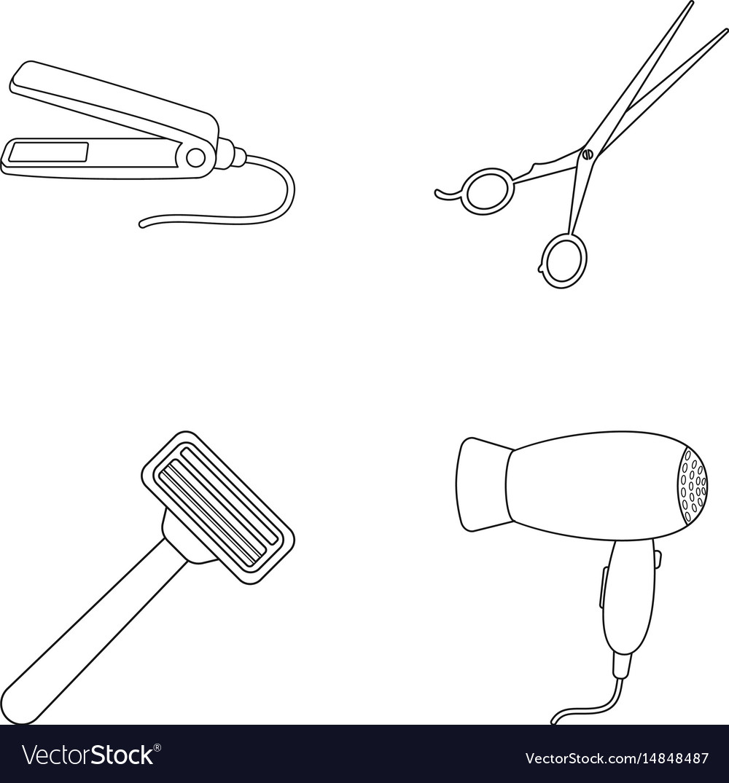 Hair dryer hair straightener razor hairdresser