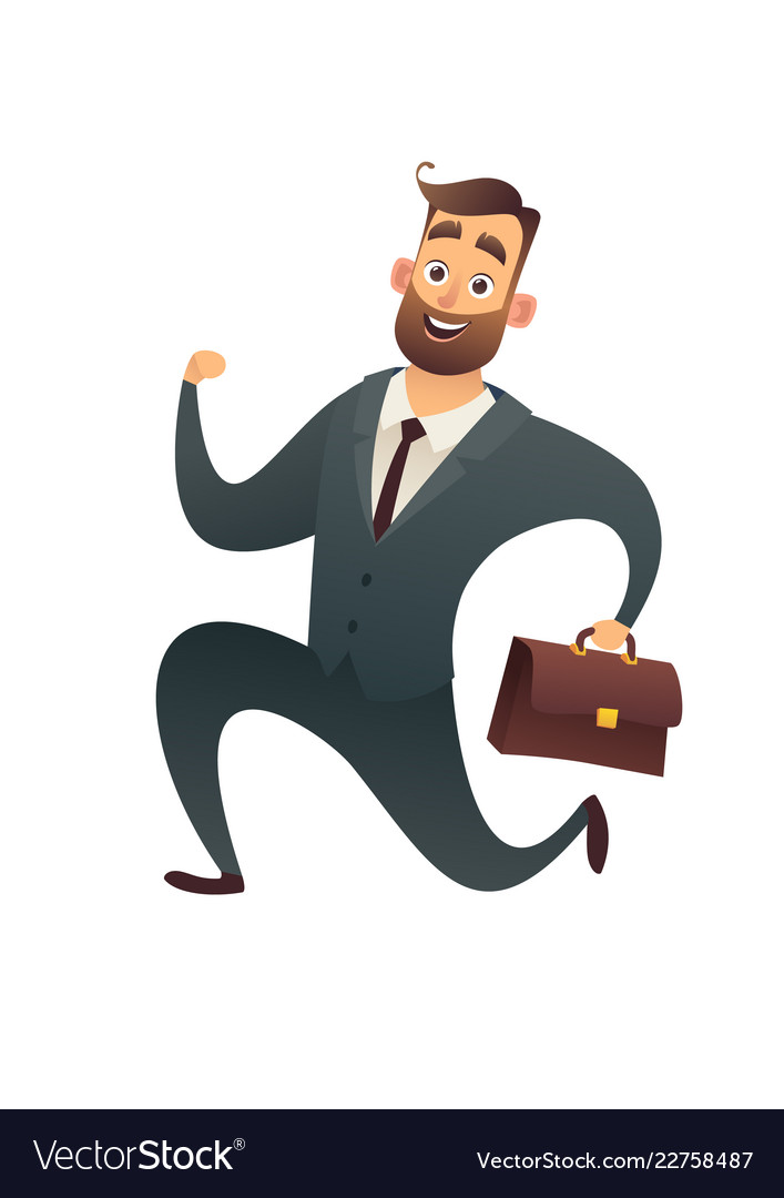 Happy businessman in suit with suitcase and runs