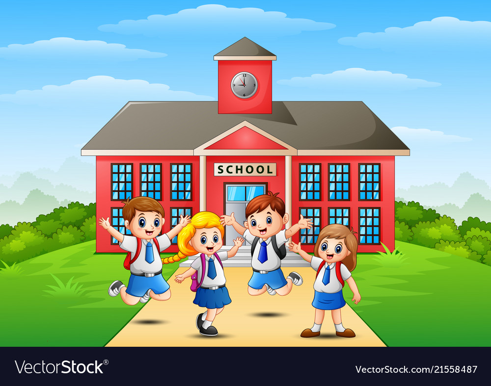 Happy school children in front of school building