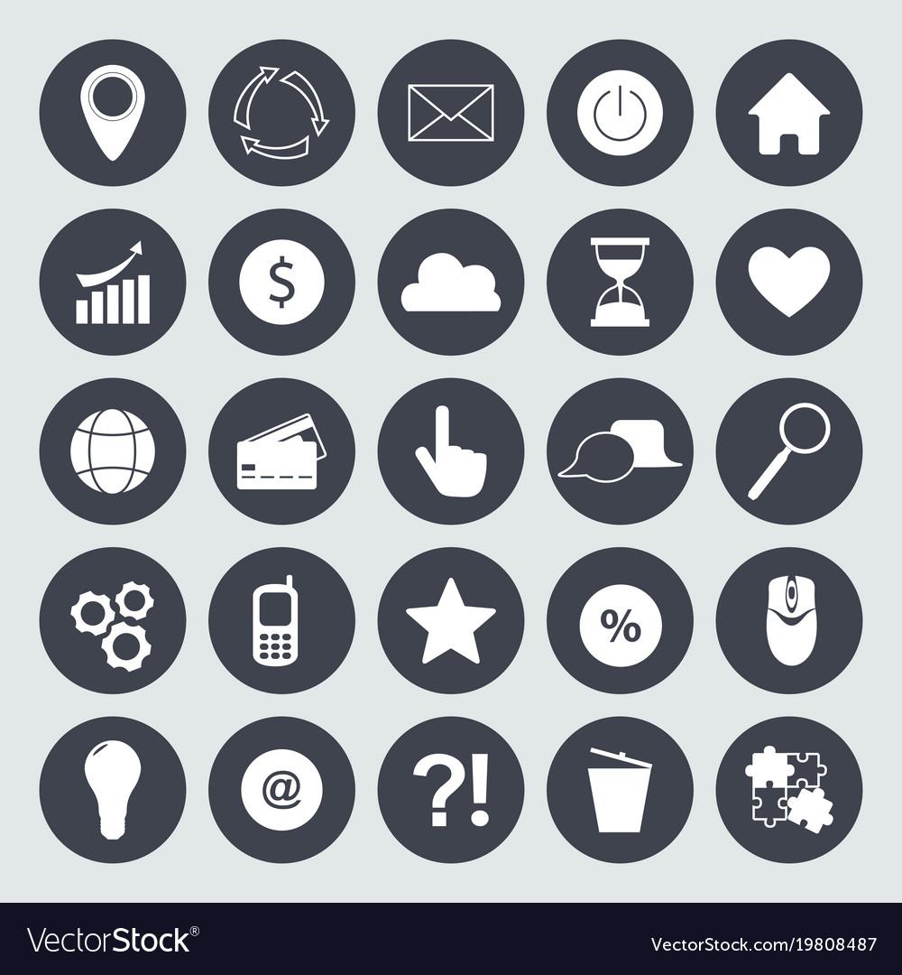Internet flat symbols for web site design isolated