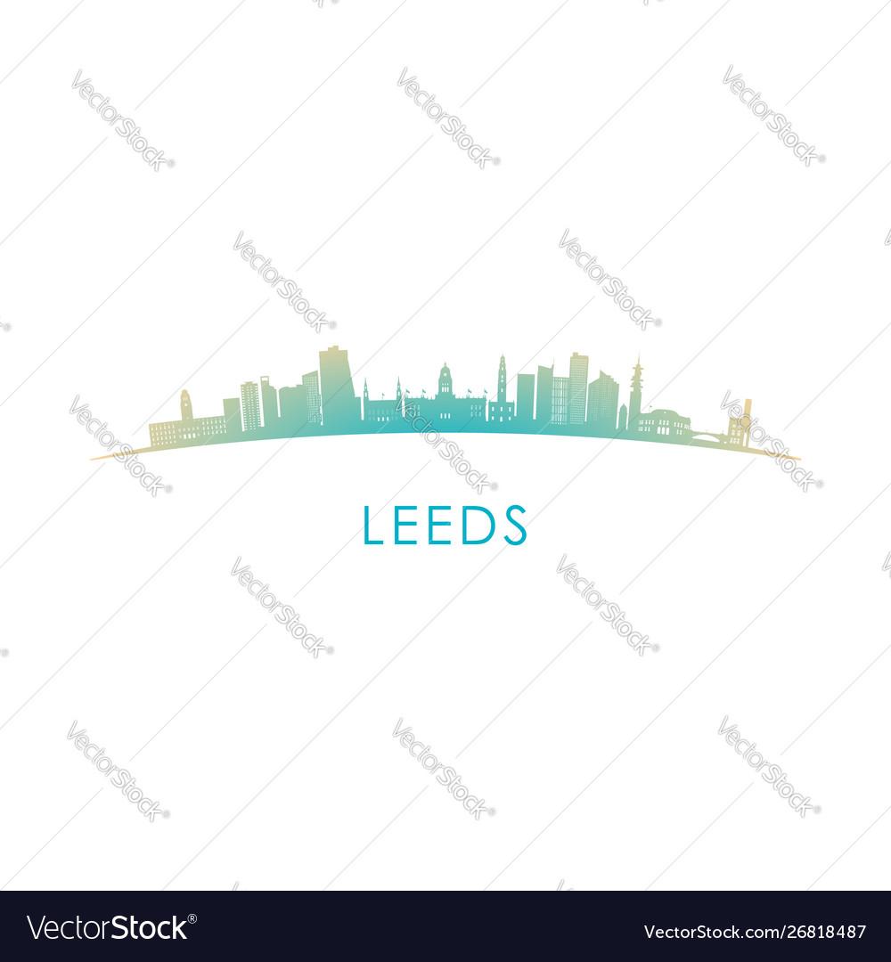 Leeds skyline silhouette design colorful