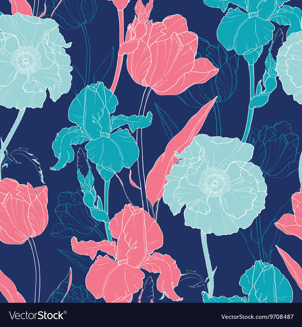 Night Flowers Seamless Repeat Pattern With