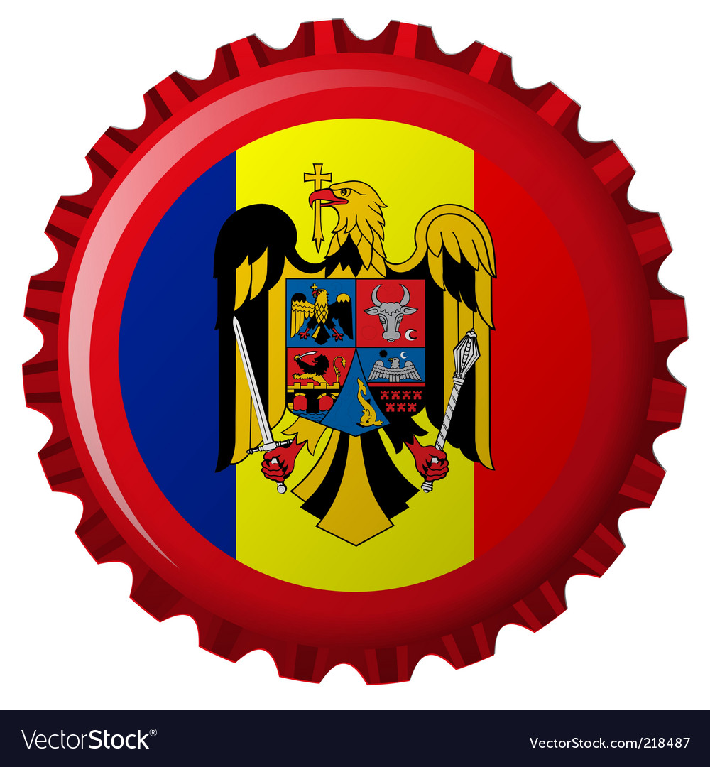 Romania bottle cap vector image