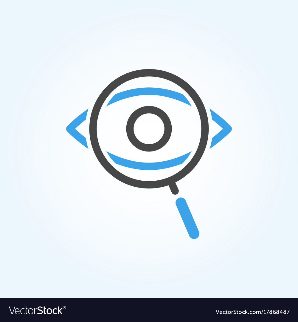 Searching eye with magnifying glass