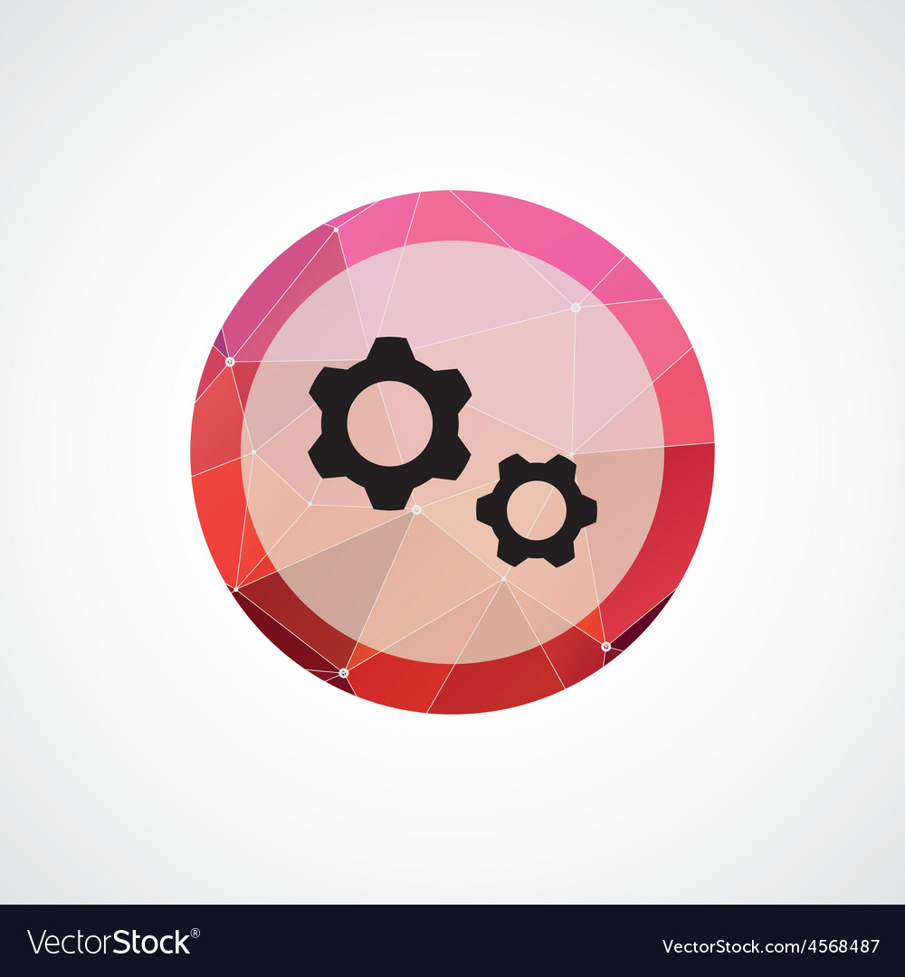 Settings circle pink triangle background icon