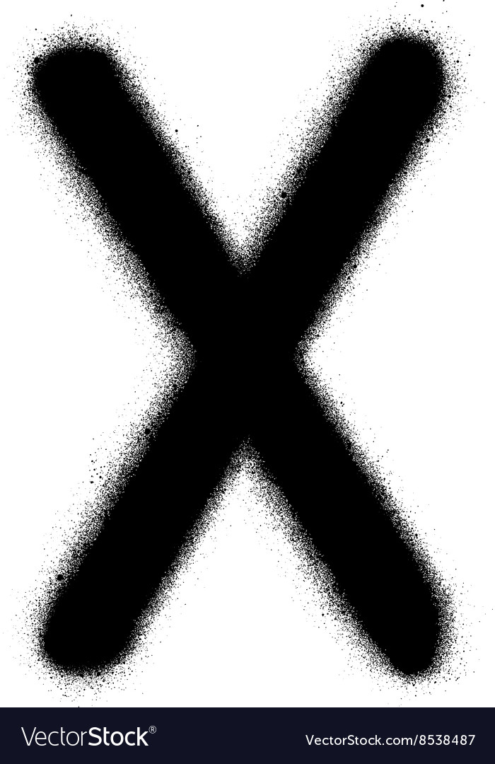 Sprayed X font graffiti in black over white vector image