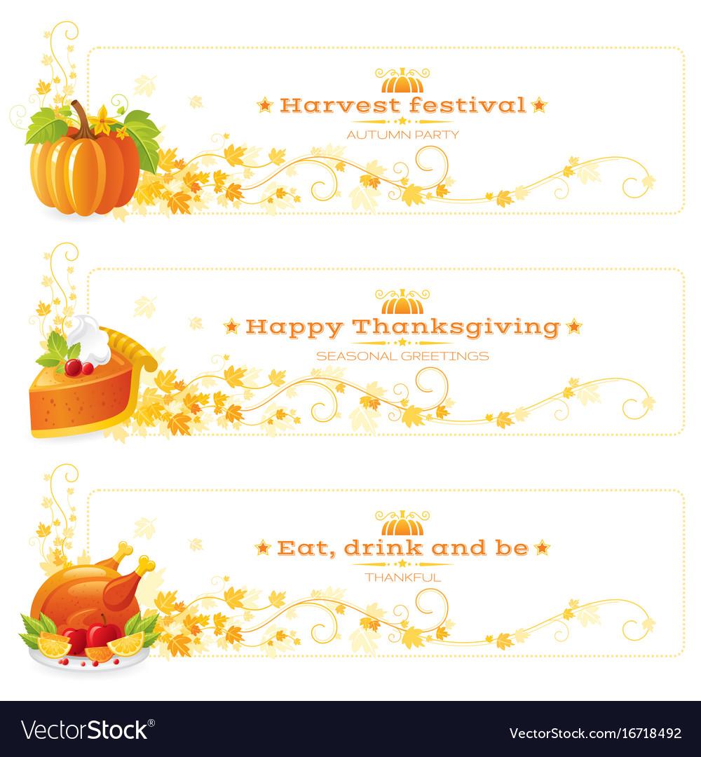 Autumn thanksgiving holiday food banner set