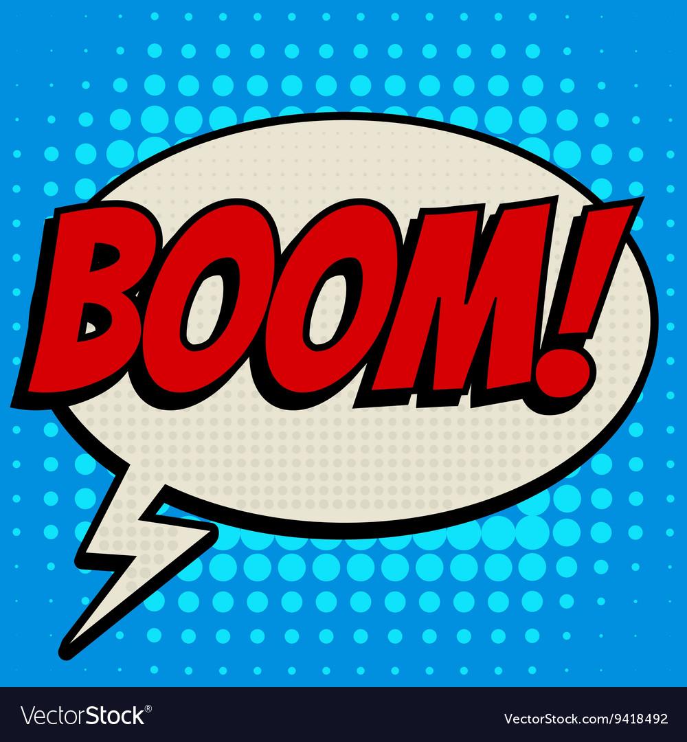 Boom comic book bubble text retro style