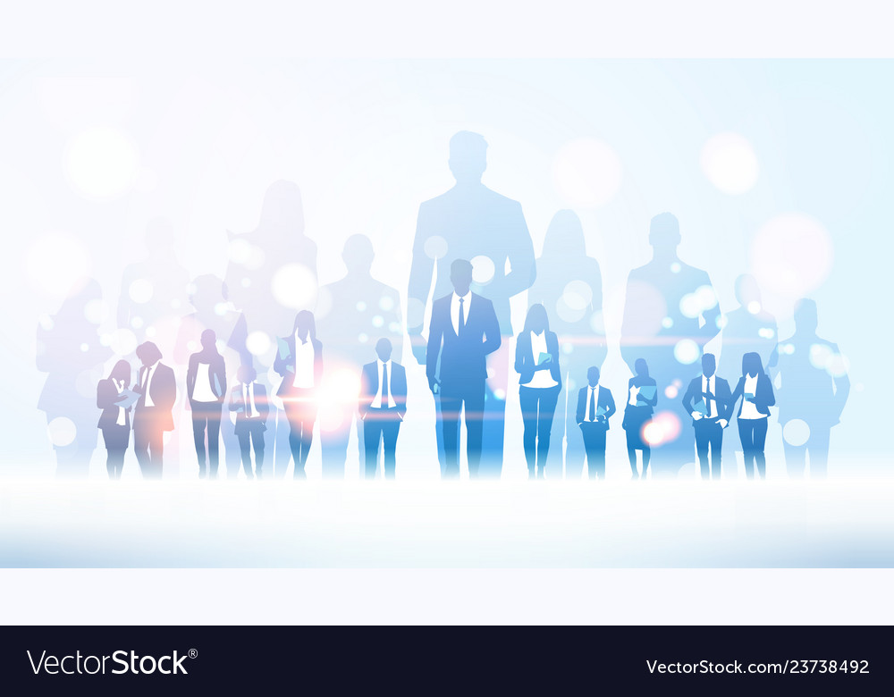 Businessman team leader standing out from