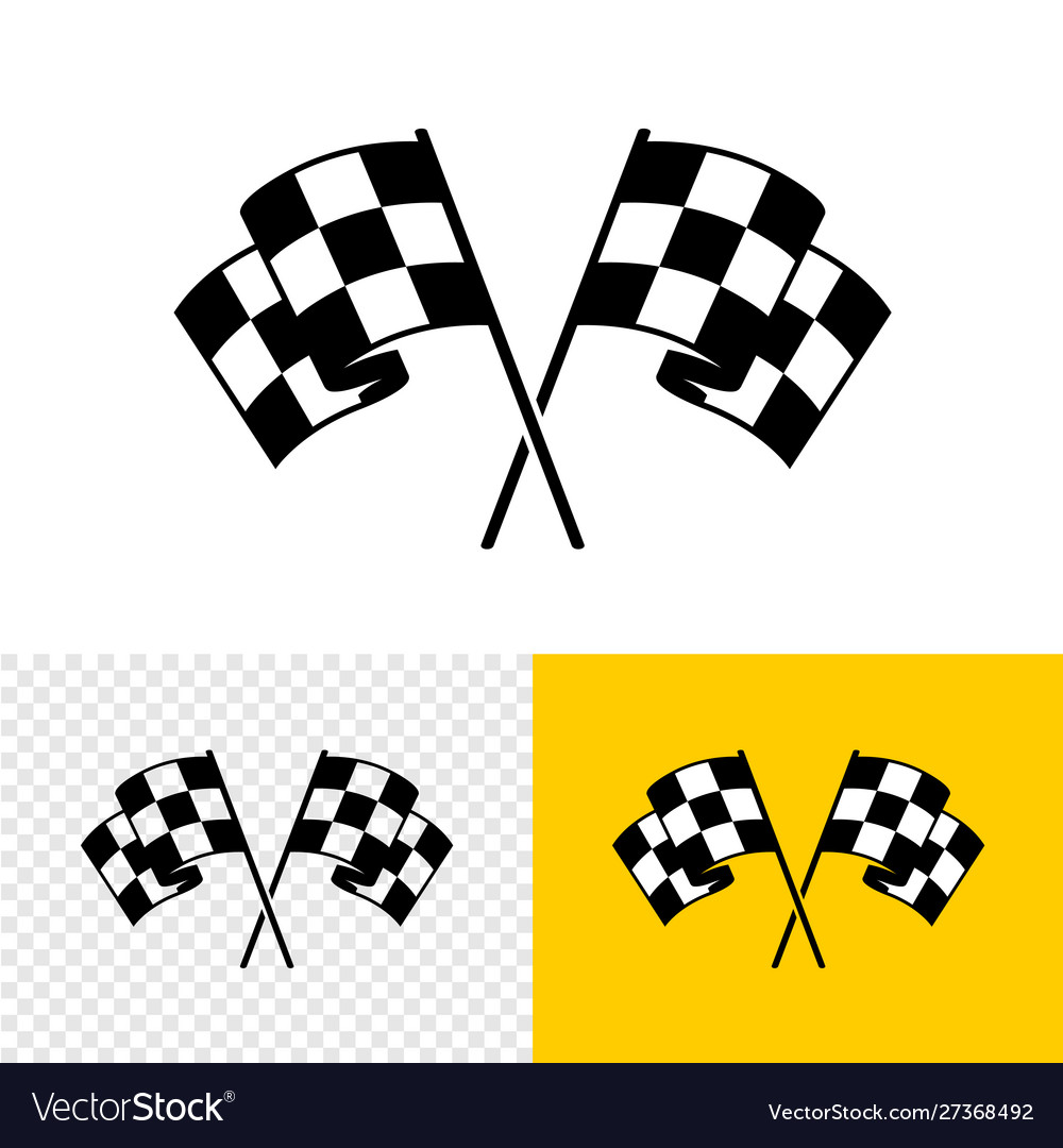 Checkered race flags crossed two start or finish