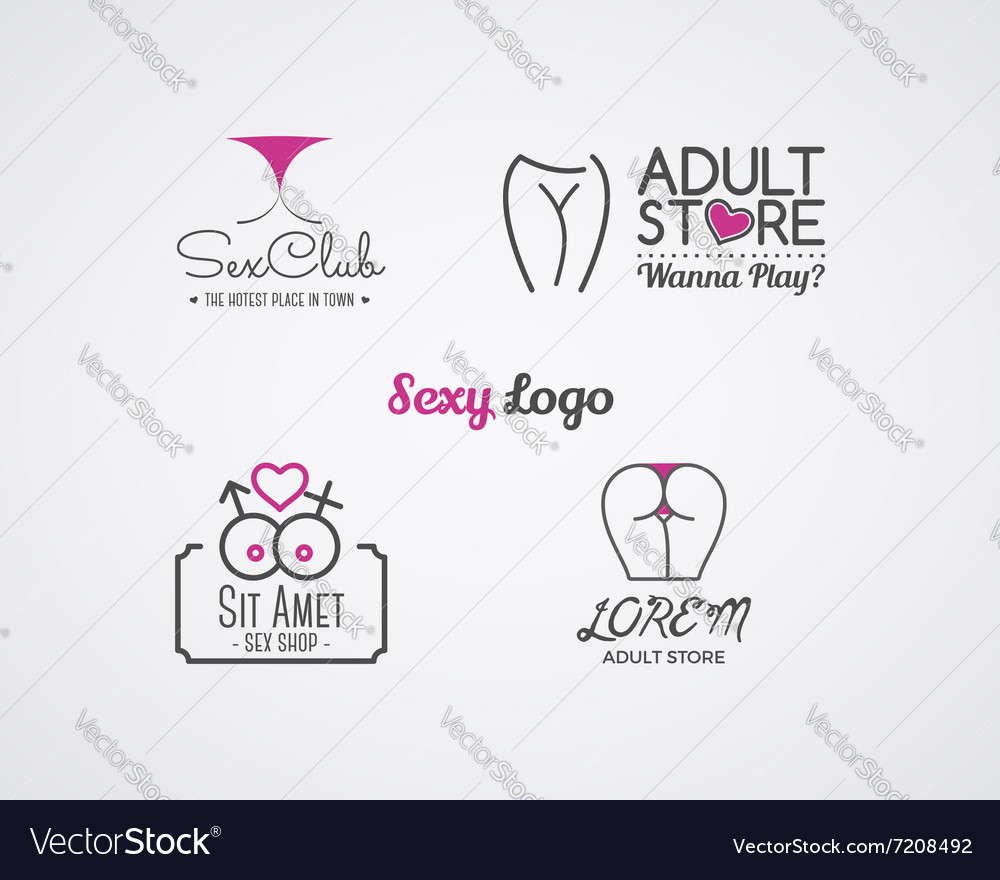 Collection of cute Sex shop logo and badge design