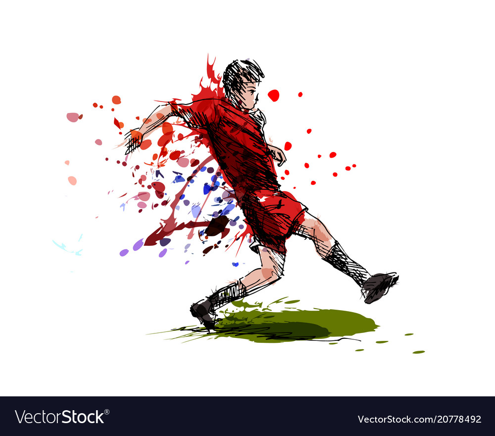 Colored hand sketch soccer