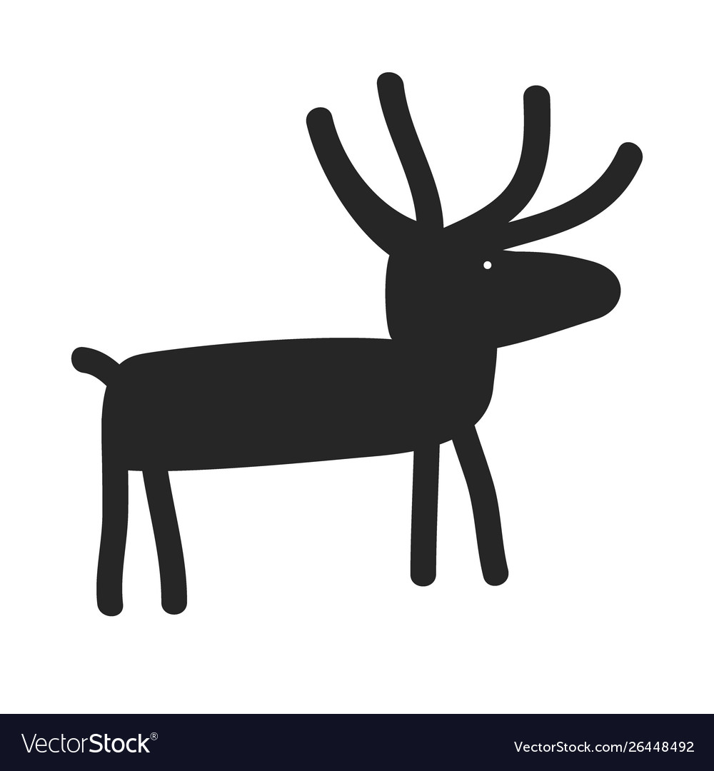 Deer silhouette cartoon funny and simple