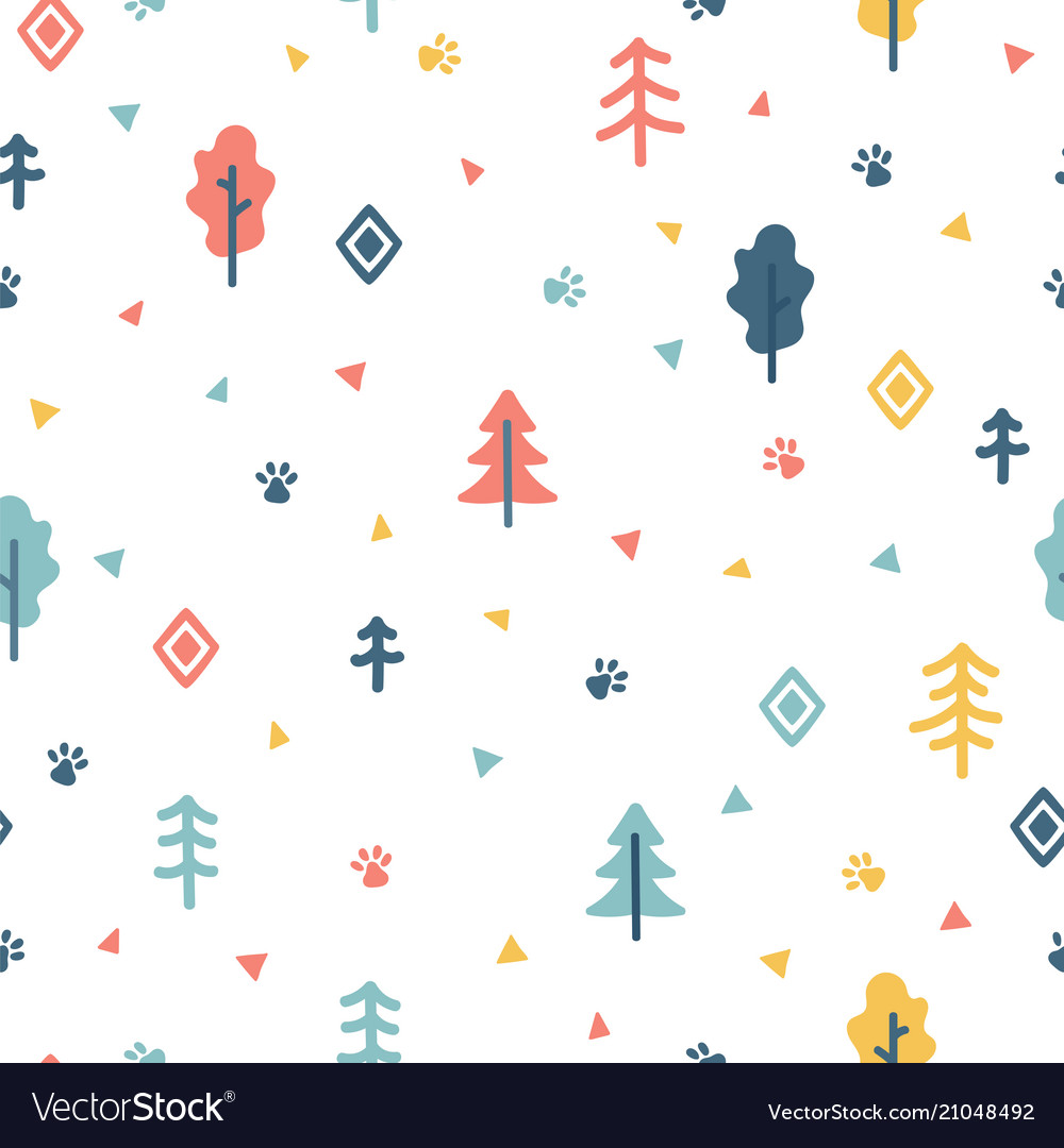 Hand drawn seamless pattern with trees wrapping