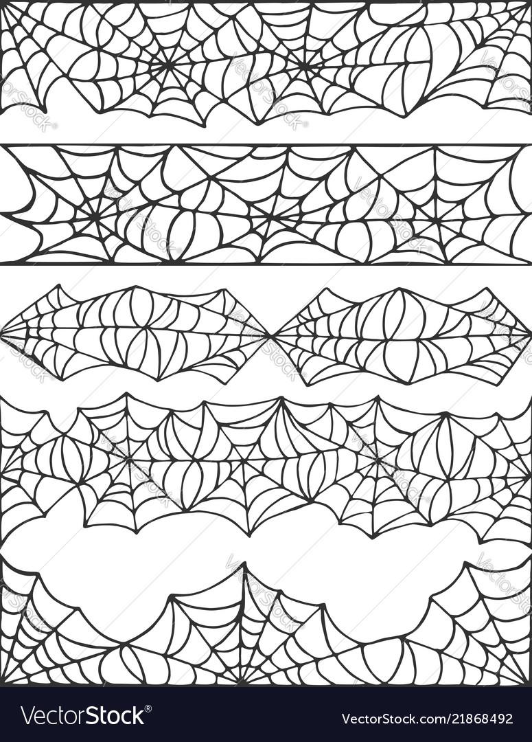 Hand drawn spider web halloween symbol cobweb