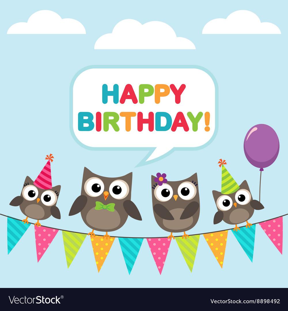 happy birthday owls Happy birthday card with owls Royalty Free Vector Image happy birthday owls