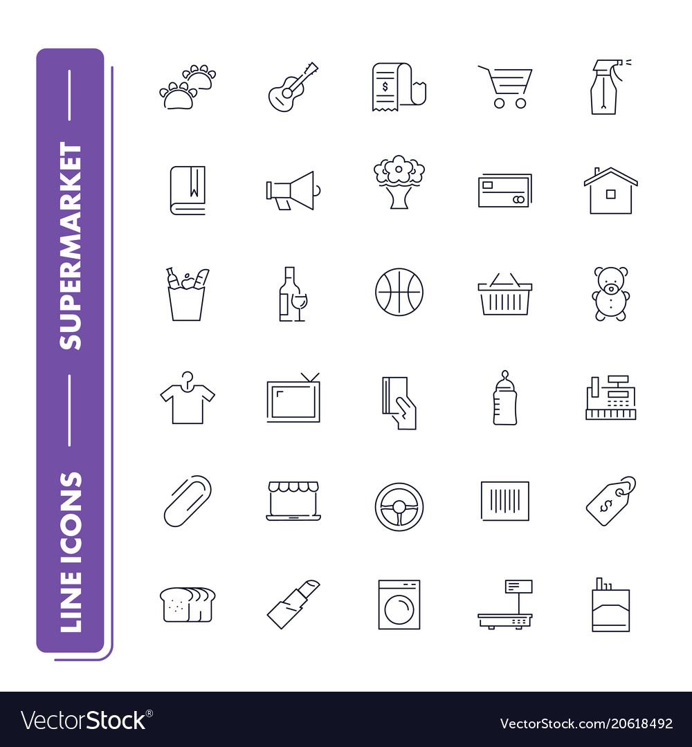 Line icons set supermarket