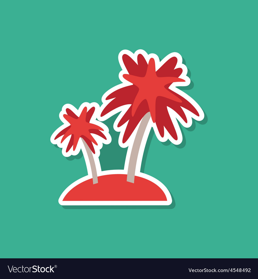 Sea island with palm trees on blue background