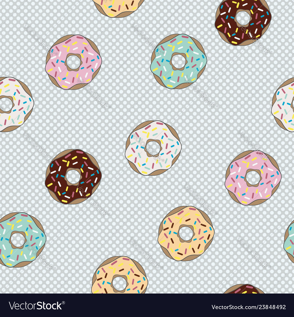 Seamless pattern donut with glaze